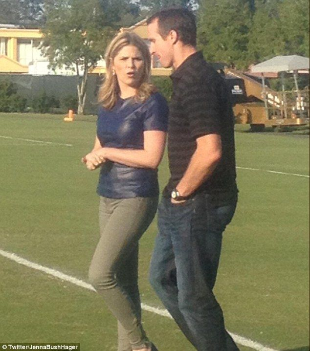 Dressed to impress: Jenna Bush Hager stepped out in a sexy blue leather-look T-shirt as she interviewed NFL player Drew Brees