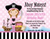 Printable Birthday Invitations, Girls Pirate Party Invites  cute
