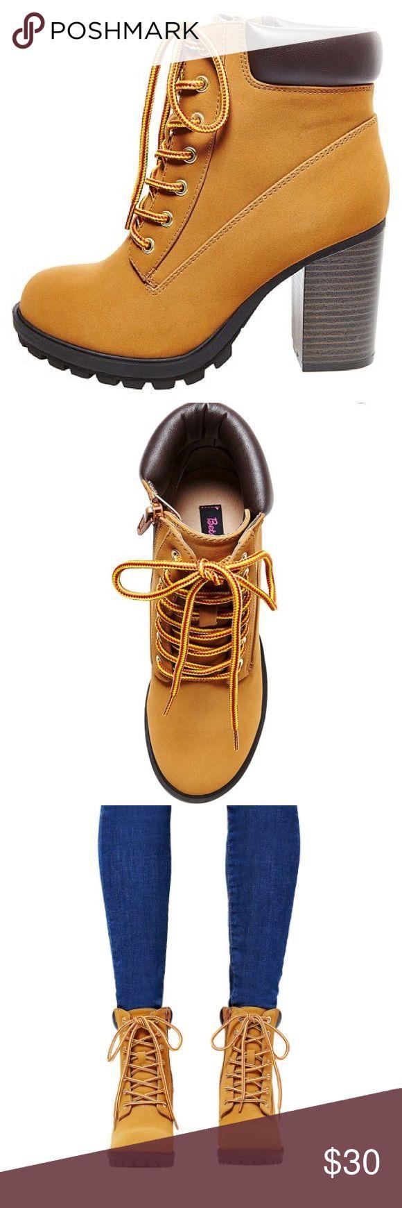 "Betsey Johnson Timberland Heels Betsey Johnson ""Betseyville"" timberland high heels                                                                         NWOT, never worn Betsey Johnson Shoes Heeled Boots"