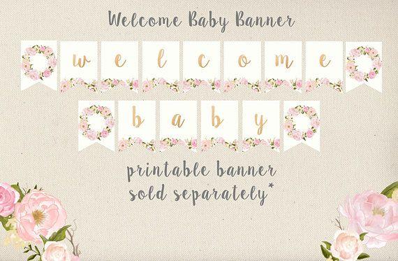 Niña bebé ducha invitación flores y rosa primavera verano