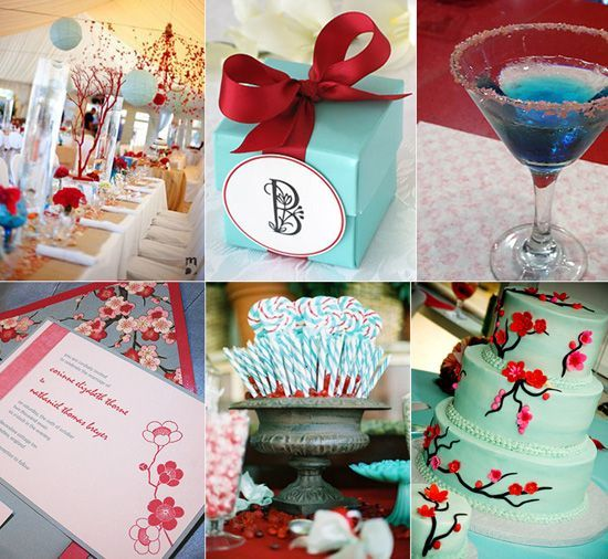 Red And Tiffany Blue Wedding Ideas: Aqua-blue-cherry-red-cocktails-wedding-inspiration-board