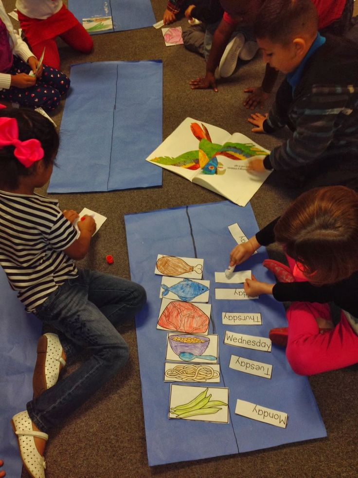 Days of the Week Timeline for Book, Today is Monday by Eric Carle (from Chalk Talk: A Kindergarten Blog)