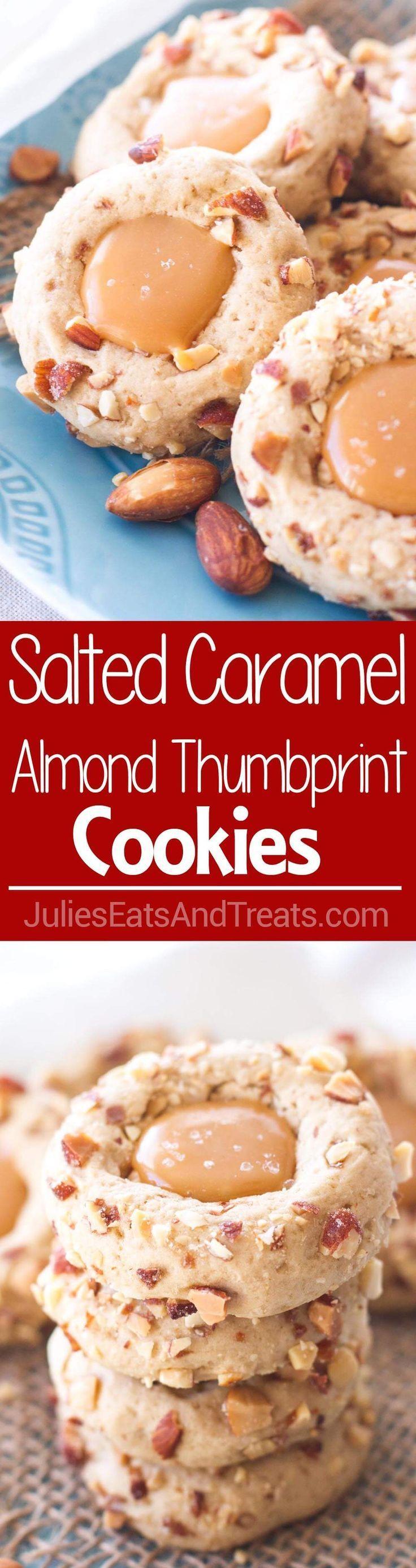 Salted Caramel Almond Thumbprint Cookies