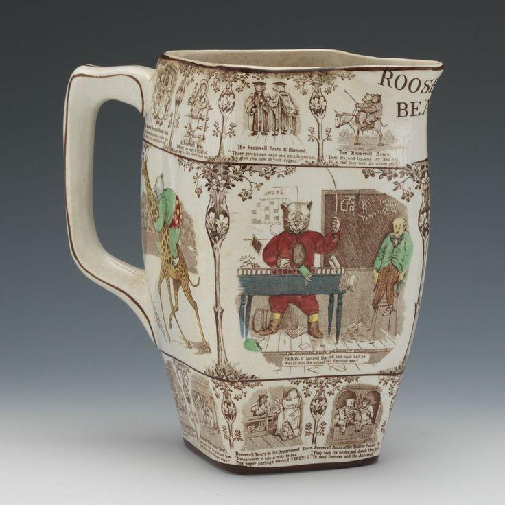 A 1907 Buffalo Pottery Quot Roosevelt Bear Quot Pitcher Pottery