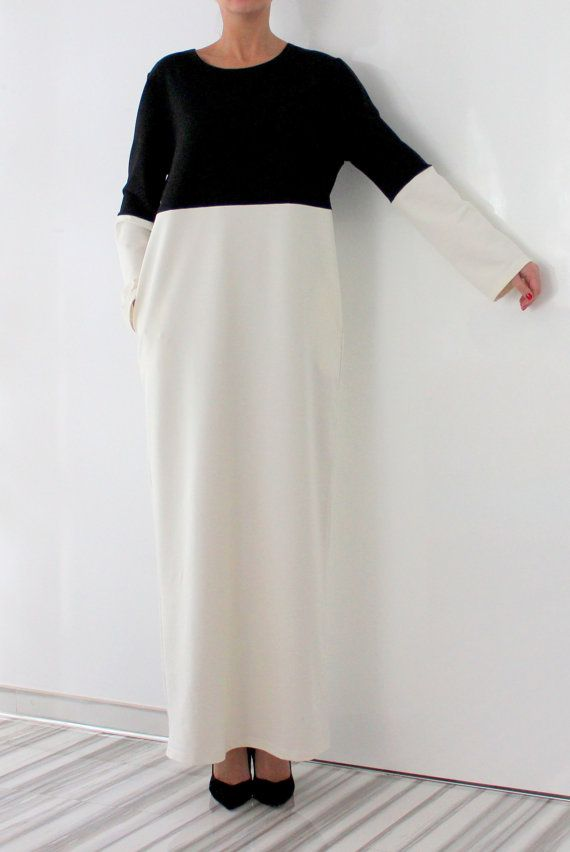 Black and White Elegant Dress with pockets /Party dress / Chic dress / Long dress /Plus size dress