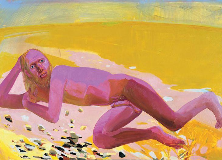 """Dana Shutz """"Reclining Nude"""" 2002 Oil on canvas"""