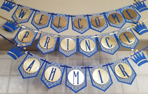 This royal blue and gold handmade multi layer cardstock banner makes an elegant addition to your Royal Prince themed baby shower. This listing is for a Royal Prince Baby Shower Banner, reading Welcome Prince + Name. Other wording is also available, please message me for more information.  Most customization requests can be accommodated. Please allow at least 7 days advanced notice for custom orders.