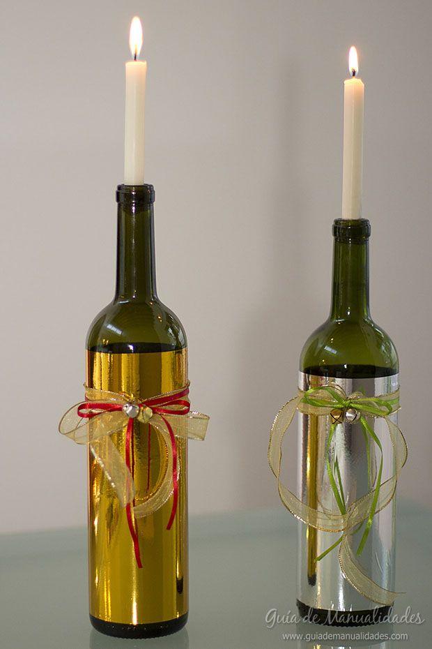 Portavelas con botellas de vidrio... #DIY #manualidades
