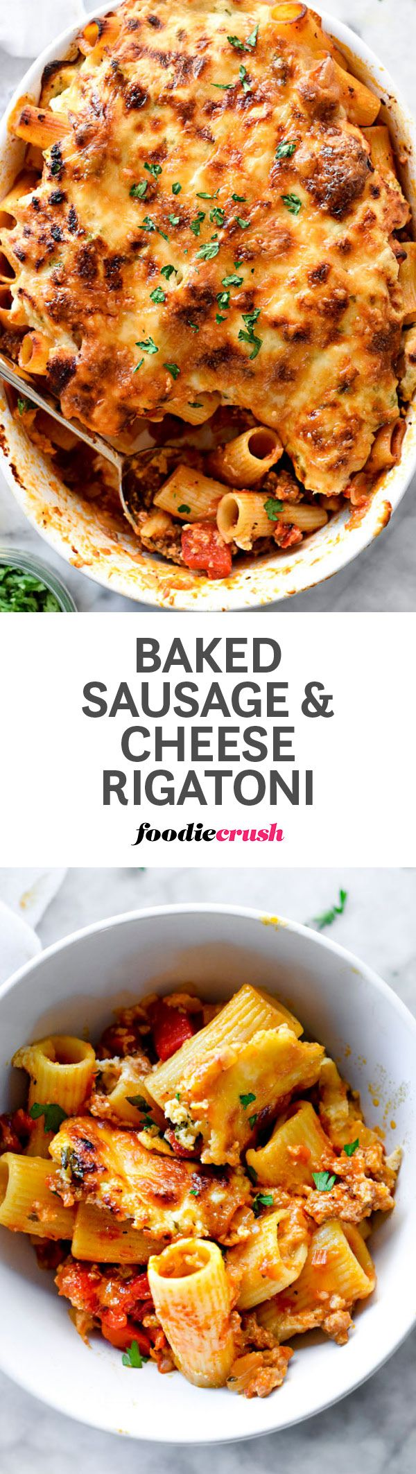 Sweet Italian sausage, roasted red bell peppers and thick layers of ricotta and provolone cheese make this baked rigatoni pasta a family favorite. | http://foodiecrush.com #pasta #rigatoni #italianfood