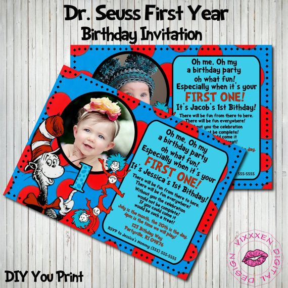 169 best 1st birthday ideas! images on pinterest | dr suess, Birthday invitations