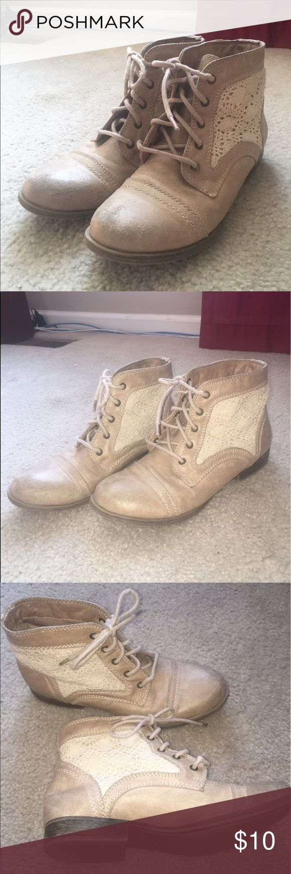 Size 8 tan ankle boots Size 8 tan ankle boots w/ lace detail originally from target (mossimo supply co). Slightly used but still in great shape, just slightly scruffed at toes. Mossimo Supply Co. Shoes Ankle Boots & Booties
