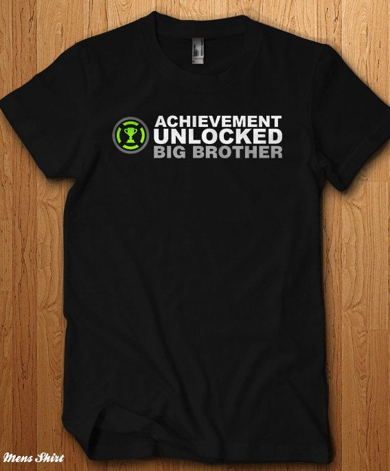 Achievement Unlocked Big Brother Shirt New baby Surprise Tee Announcement Pregnant New Bro Gift Daddy Father Gift Idea Papa Geek…