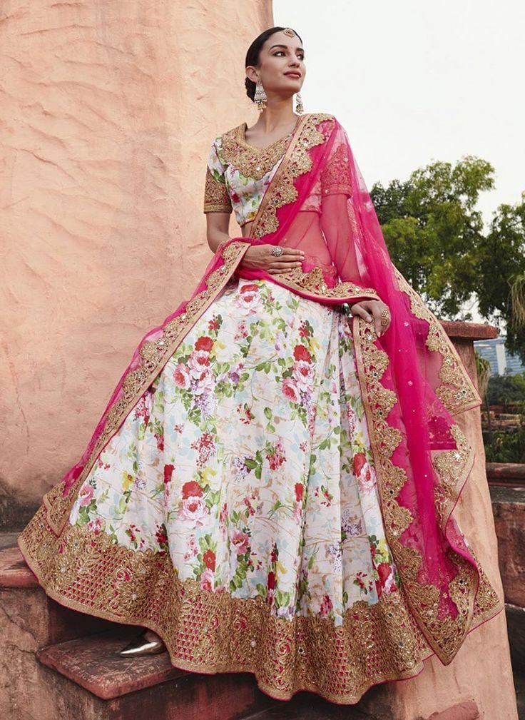 Cream floral printed A line wedding wear lehenga choli in satin D16255
