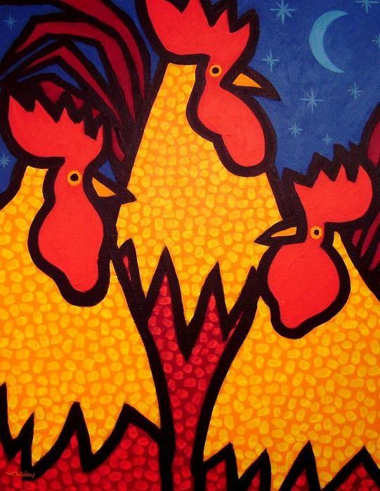 Funky Roosters  ~ by John Nolan, Irish Artist