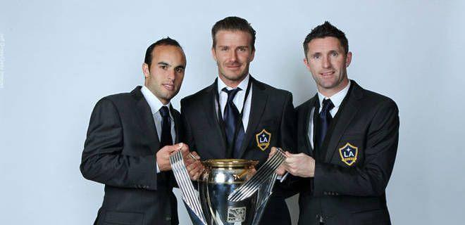 LA Galaxy trio Landon Donovan, David Beckham and Robbie Keane.