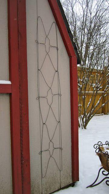 Garden trellis from wire hangers