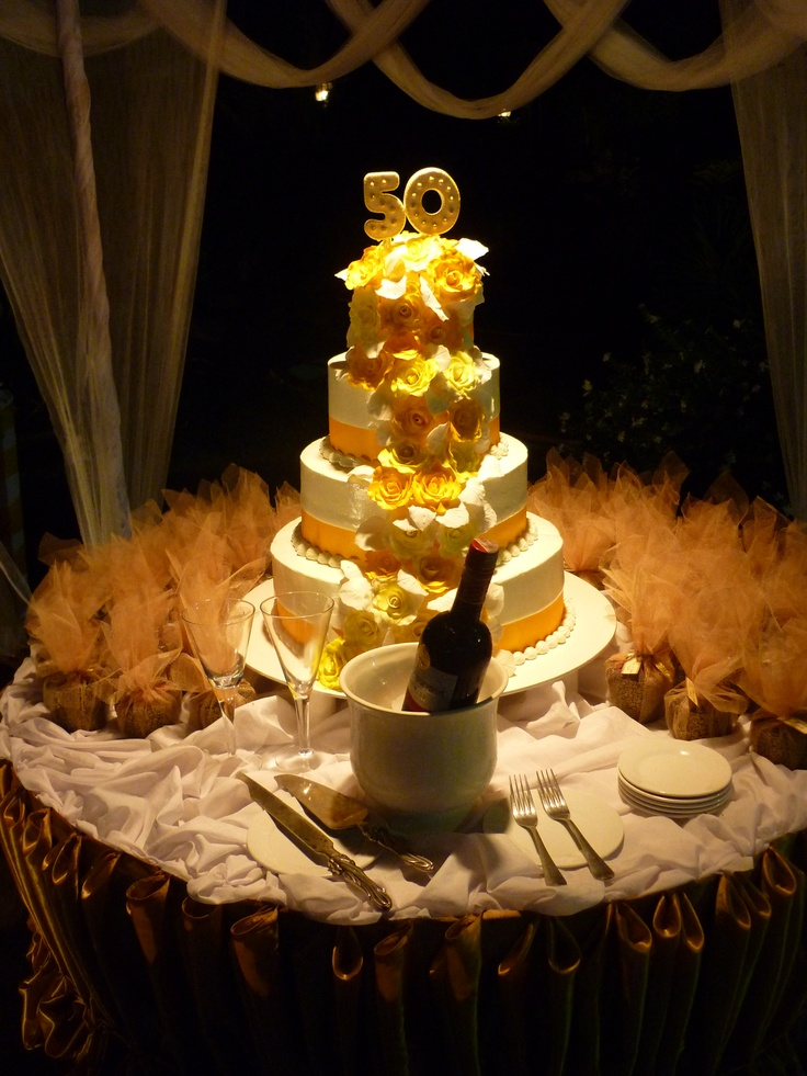 One day, I hope to reach my 50th wedding anniversary (as well as my 50th birthday) :) #wedding #cake #golden #anniversary #layers