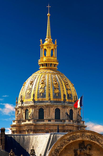 Paris - France - Les Invalides. Beneath the golden dome, Napoleon lies magnificently dead entombed within seven coffins.