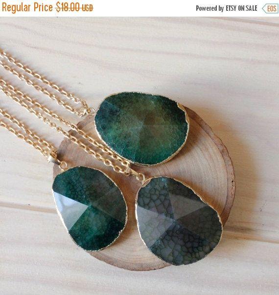 40% di sconto vendita verde oro agata collana / pastello estate ciondolo agata / ispirazione Bohemian Collana Hippie Indie / pietra preziosa collana di pietra naturale