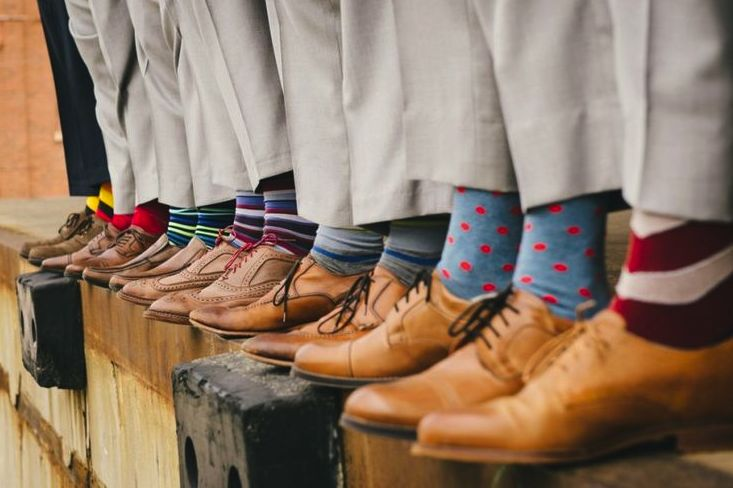 Fun socks can make for some awesome photo ops on the big day.                                                                                                                                                                                 More