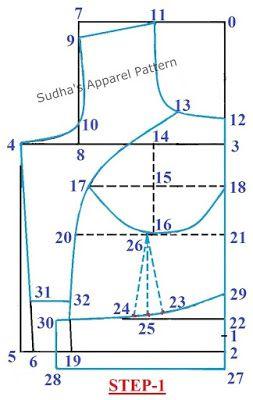 Sudha's Apparel Patterns: How to make Double Katori / Two Piece Katori Blouse with Sleeve?