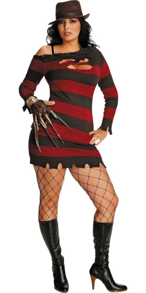 Sexy Plus Size Ms. Krueger Costume for Adults - Party City -ADD LEGGINGS UNDER INSTEAD OF FISHNET FOR A MORE G RATING