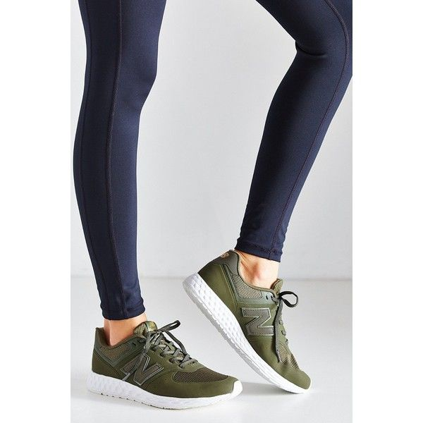 New Balance 574 Fresh Foam Running Sneaker (155 CAD) ❤ liked on Polyvore featuring shoes, olive, new balance shoes, 80s fashion, army green shoes, rubber sole shoes and 1980s shoes