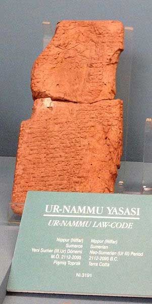 The Code of Ur-Nammu is the oldest surviving law code. This text was written on clay tablets in the Sumerian language and is reckoned to have been produced towards the end of the 3rd millennium BC. The Code of Ur-Nammu may be divided into two parts, the first is the prologue and the second is the laws themselves. Apart from being the oldest surviving law code, the Code of Ur-Nammu is also important as it gives us a glimpse of the way justice was conceived in ancient Sumerian society.