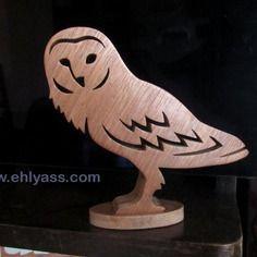 Sculpture en bois chouette effraie en chantournage