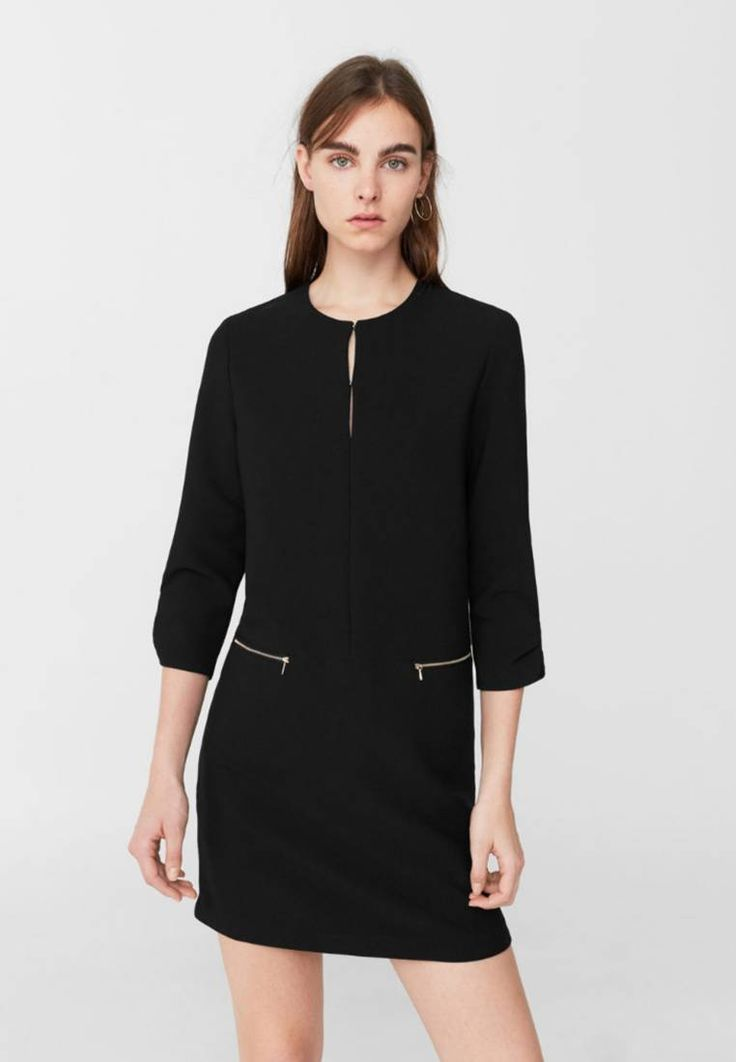 Mango. TUNIC - Summer dress - black. Fit:regular. Outer fabric material:75% polyester, 20% viscose, 5% spandex. Pattern:plain. Care instructions:Hand wash only. Fastening:Hook fastening. Neckline:round neck. Length:short. Sleeve leng...