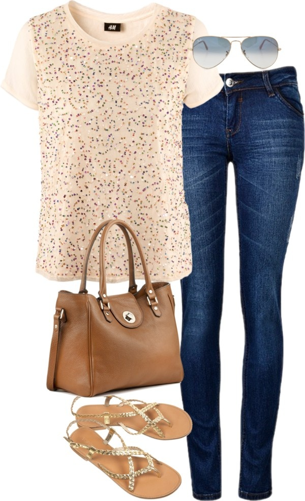 Eleanor inspired outfit for shopping H sequin top, $16 / Skinny leg jeans / Topshop flat shoes / Leather shoulder bag, $305 / Ray-Ban ray ban eyewear, $260