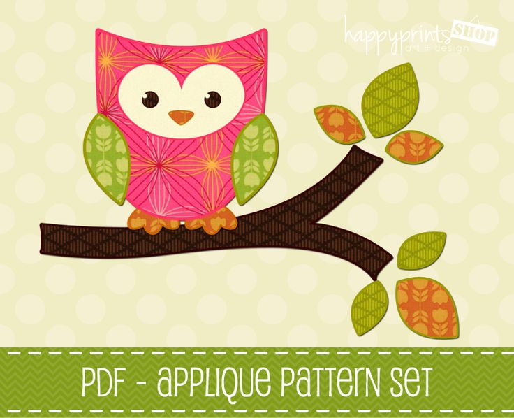 Classroom Decor Owls ~ Owl applique pattern set of branch