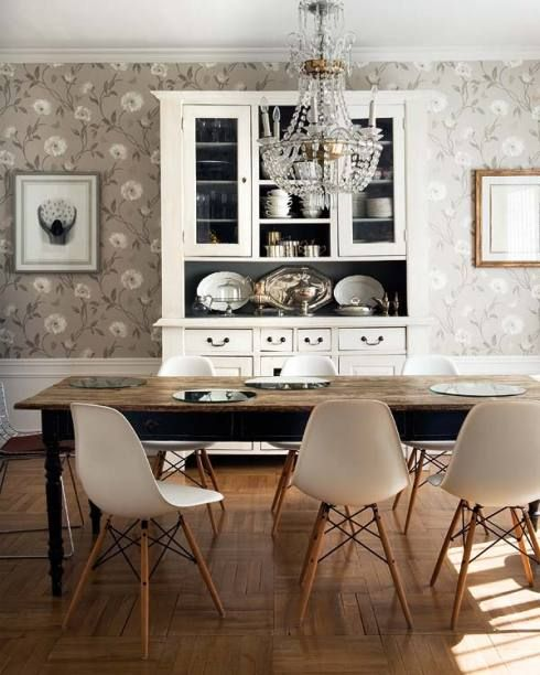Gray flower wallpaper farm table midcentury slope chair for Grey dining room wallpaper