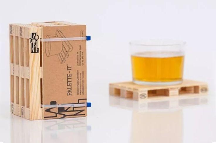 Portavasos Mini Paleta Set De 4 Unds | Madera - Bs. 19.800,00 en Mercado Libre