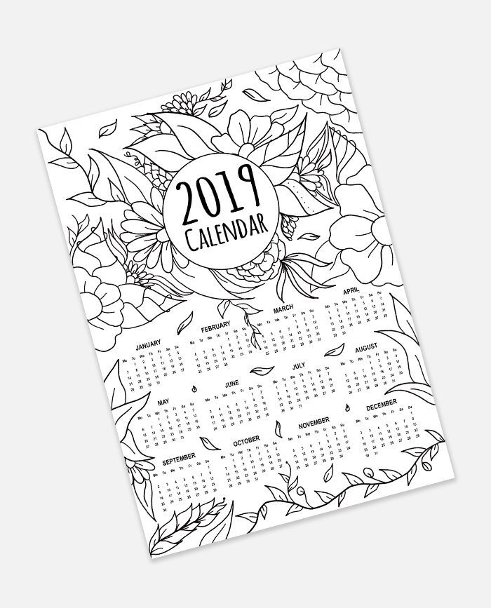 FREE 2019 Calendar Adult Coloring Page Instant Digital Download