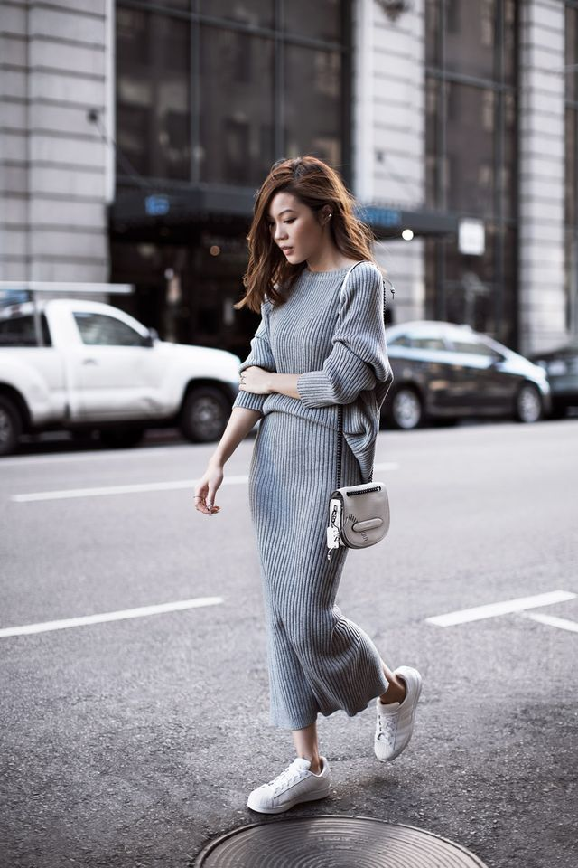 Gray knit matching set