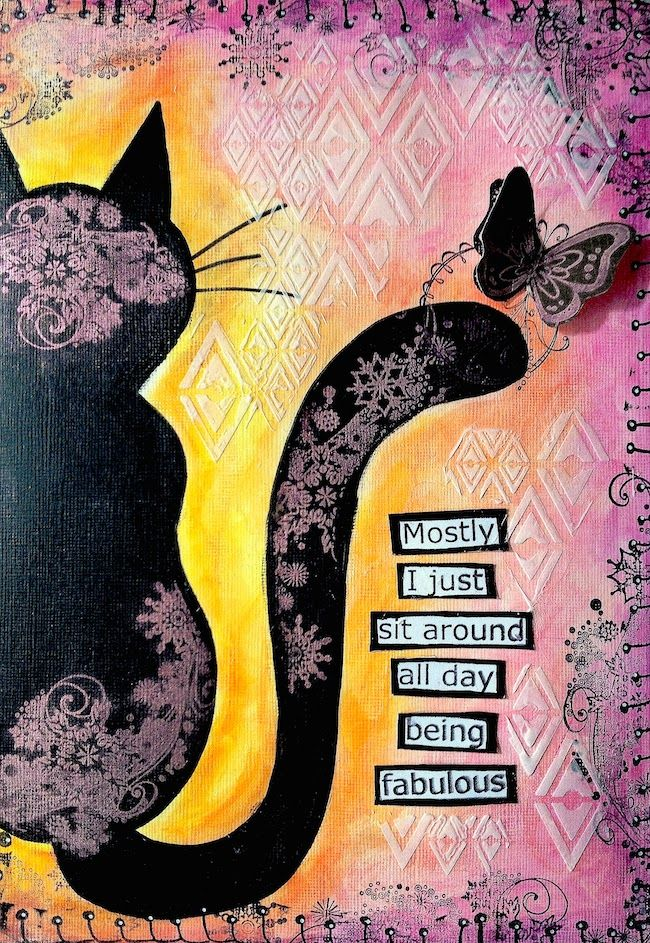 ART JOURNAL PAGE | CAT | Nika In Wonderland Art Journaling and Mixed Media Tutorials