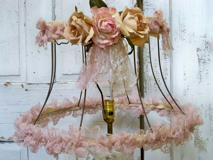 Lampshade salvaged shabby chic vintage distressed tea stained roses and lace.