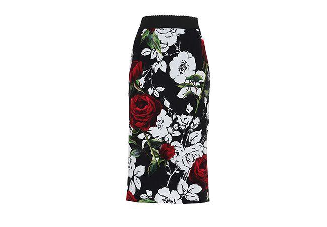 Falda de l�piz con rosas estampadas de Dolce & Gabbana