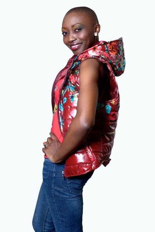 Doudoune jacket Rouge fleuri avec capuche