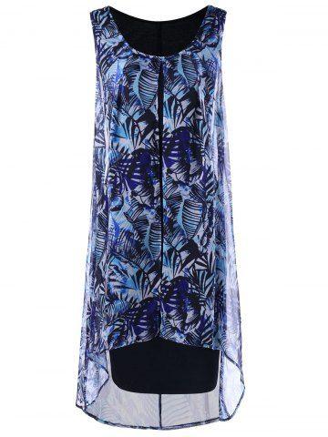 ce1c0136ea2 Chiffon Insert Layered Plus Size High Low Sleeveless Dress - BLUE ...
