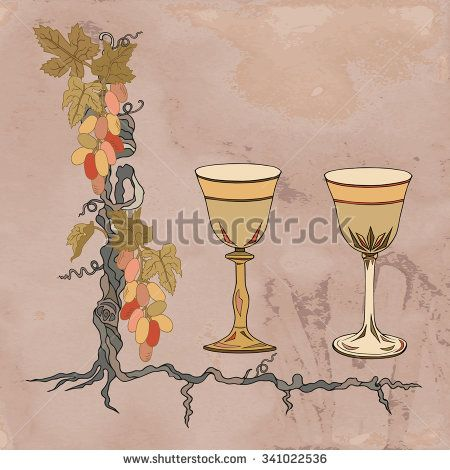 "Set of two wine glasses, grapes and grapevine on brown kraft ""paper"". Each object is isolated. It can be used for weddings, invitations, menus, labels for wine and wine vinegar."