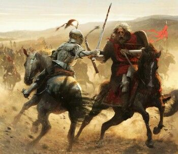 Barristan Selmy fights Maelys Blackfyre during the War of the Ninepenny Kings by José Daniel Cabrera Peña