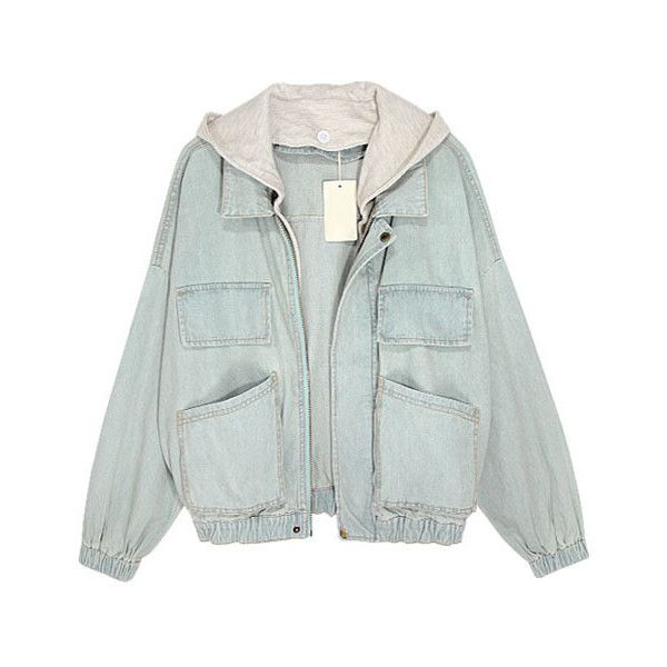 Faded Light Blue Denim Jackets with Hood (330 PEN) ❤ liked on Polyvore featuring outerwear, jackets, tops, coats, green zip jacket, light blue jean jacket, jean jacket, green denim jacket and zipper jacket