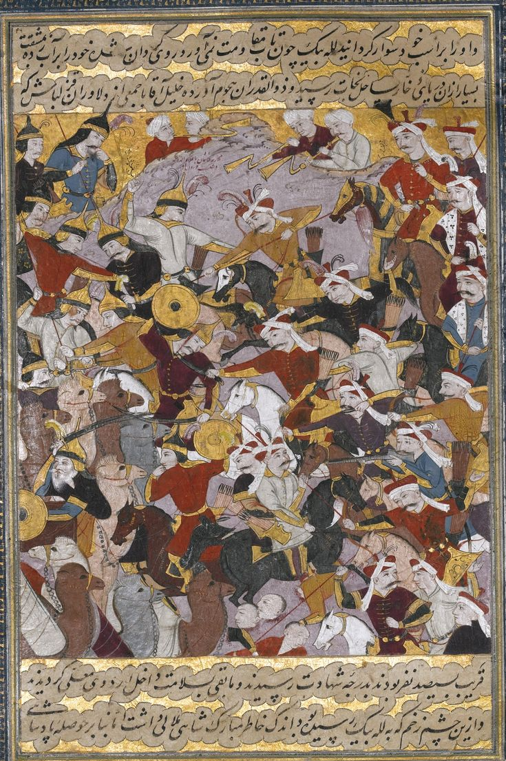 AN ILLUSTRATED ALBUM LEAF FROM A COPY OF BIDJAN'S TARIKH-I DJAHANGUSHA-YI KHAQAN SAHIBQIRAN (A HISTORY OF SHAH ISMA'IL I) PAINTED BY OR IN THE STYLE OF MU'IN MUSAVVIR, PERSIA, SAFAVID, ISFAHAN, CIRCA 1680