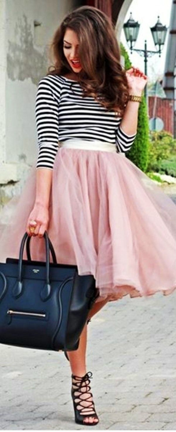 #spring #street #style #outfit #ideas | Black and White Stripes + Pink Tulle