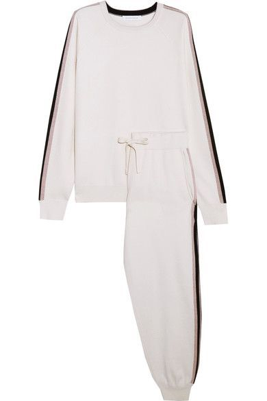 Olivia von Halle - Moscow Striped Silk And Cashmere-blend Sweatshirt And Track Pants Set - Ivory -