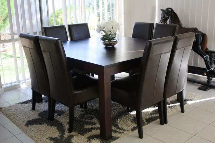 Square Dining Table for 8   ... DIRECT Solid Hardwood Square Dining Table & 8 Leather Chairs BARGAIN