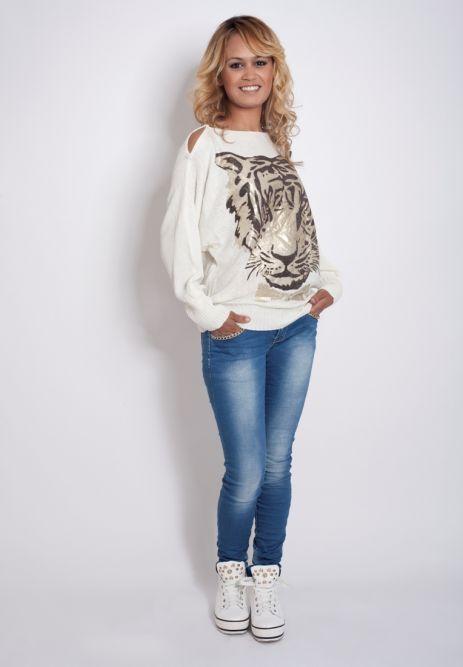 Truien :: Witte trui met tijger - C'est Lá Moda