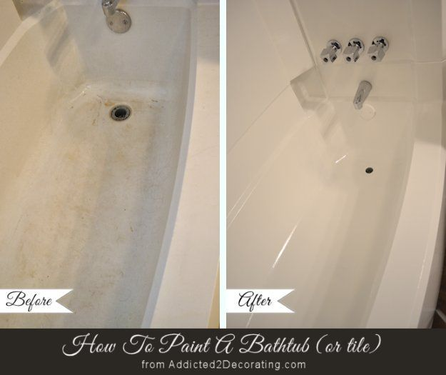Home Improvement Hacks. - Paint Your Bathtub - Remodeling Ideas and DIY Home Improvement Made Easy With the Clever, Easy Renovation Ideas. Kitchen, Bathroom, Garage. Walls, Floors, Baseboards,Tile, Ceilings, Wood and Trim. http://diyjoy.com/home-improvement-hacks